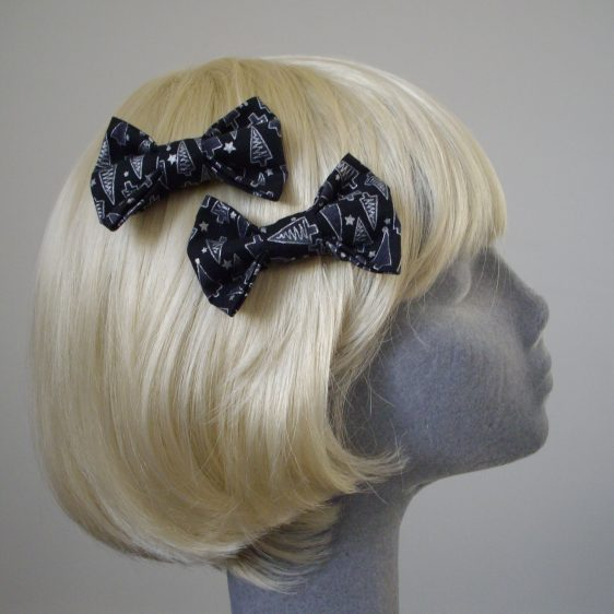 Black Silver Christmas Tree Bow Hair Clip side