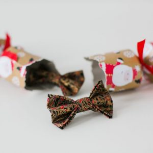 Black Gold Christmas Floral Bow Hair Clip