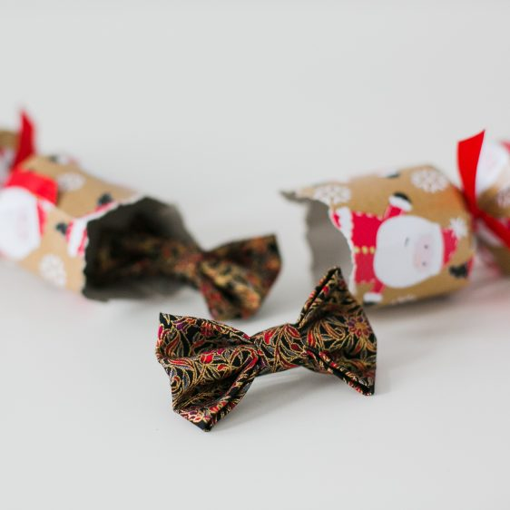 Black Gold Christmas Floral Bow Hair Clip