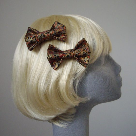 Black Gold Christmas Floral Bow Hair Clip side