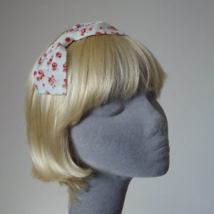 Pale Blue Pink Rose Floral Bow Headband