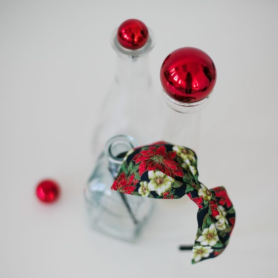Blue Christmas Poinsettia Bow Headband