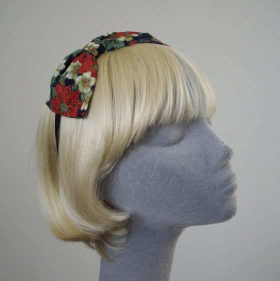 Blue Christmas Poinsettia Bow Headband angle