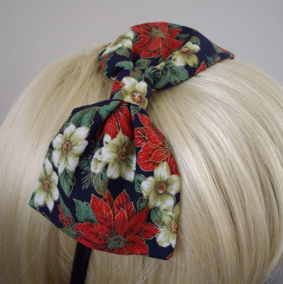 Blue Christmas Poinsettia Bow Headband detail