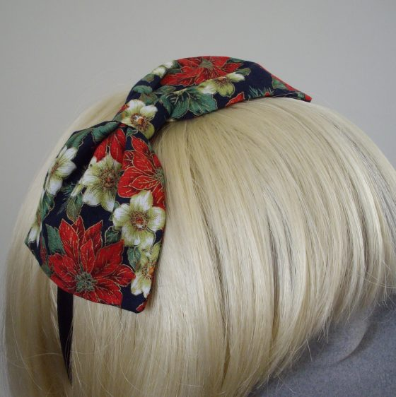 Blue Christmas Poinsettia Bow Headband detail2