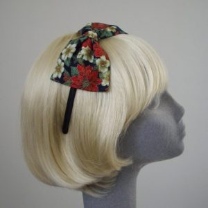 Blue Christmas Poinsettia Bow Headband side