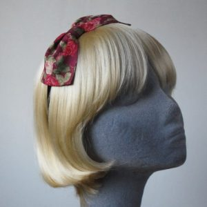 Deep Pink Rose Floral Bow Headband