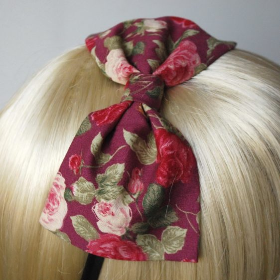 Deep Pink Rose Floral Bow Headband detail