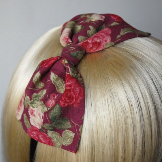 Deep Pink Rose Floral Bow Headband detail2
