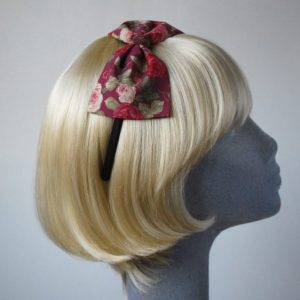 Deep Pink Rose Floral Bow Headband side
