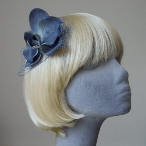 Blue Orchid Flower Hair Comb angle