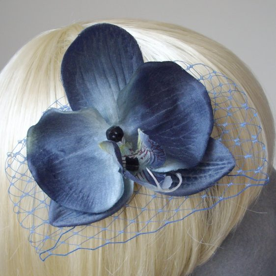 Blue Orchid Flower Hair Comb detail2