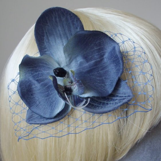 Blue Orchid Flower Hair Comb detail