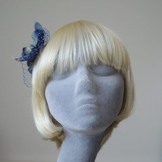 Blue Orchid Flower Hair Comb front