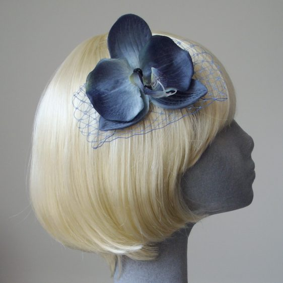 Blue Orchid Flower Hair Comb