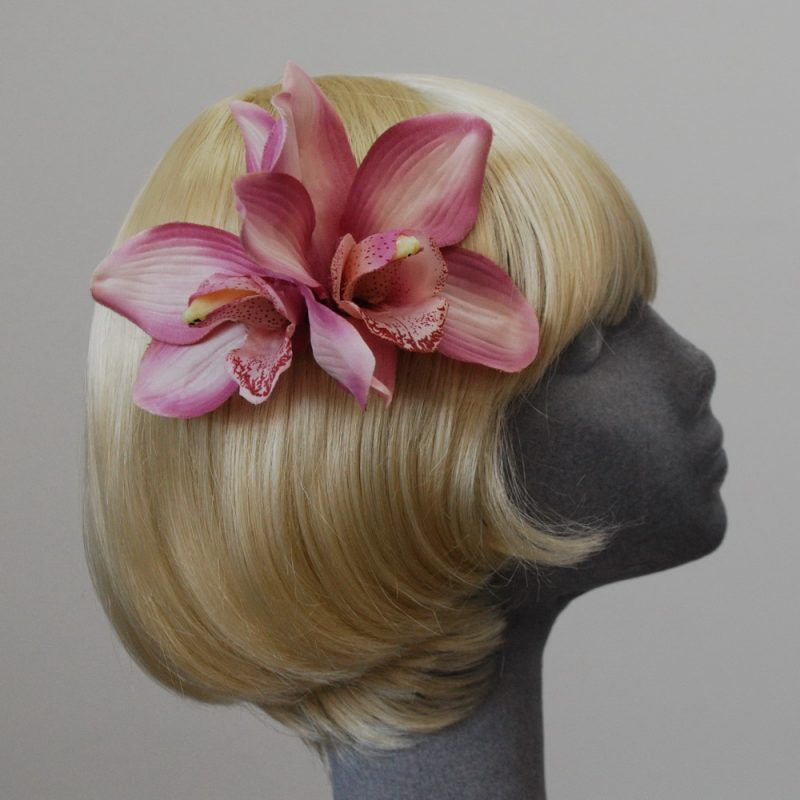 Dusky Pink Double Orchid Hair Clip
