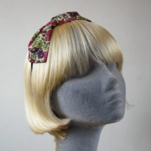 Green Pink Floral Bow Headband
