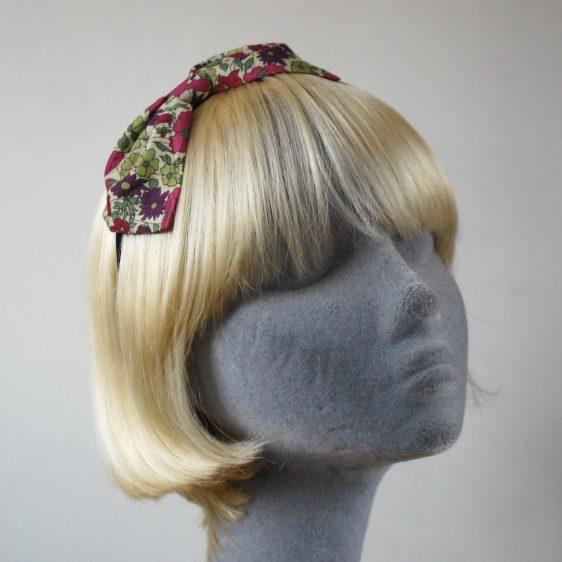 Green Pink Floral Bow Headband