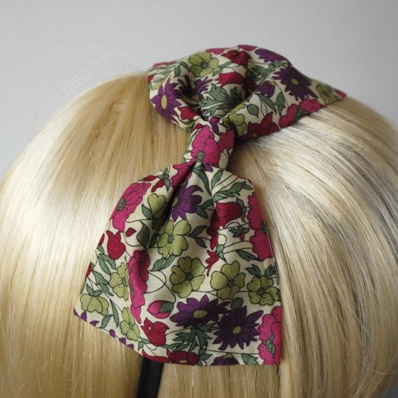 Green Pink Floral Bow Headband detail