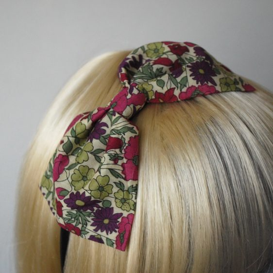 Green Pink Floral Bow Headband detail2