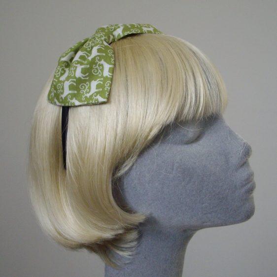 Green Christmas Reindeer Bow Headband angle