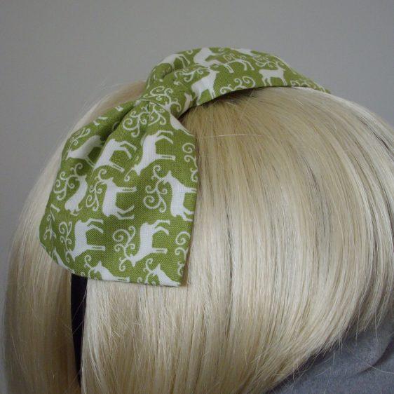 Green Christmas Reindeer Bow Headband detail2