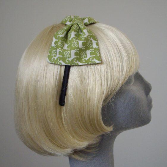 Green Christmas Reindeer Bow Headband side