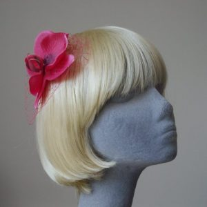 Hot Pink Orchid Flower Hair Comb angle