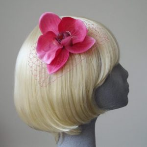 Hot Pink Orchid Flower Hair Comb
