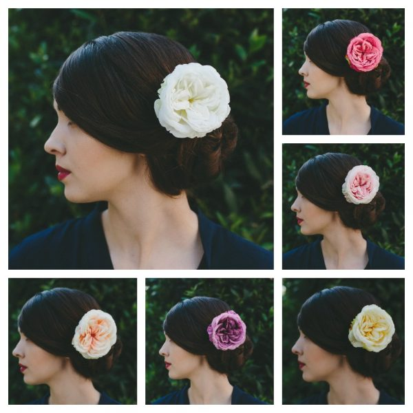 Ivory Rose Hair Clip collage