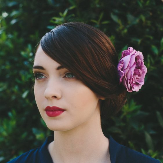 Lilac Rose Hair Clip angle