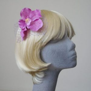 Lilac Orchid Flower Hair Comb angle