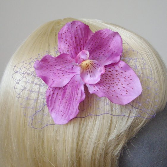Lilac Orchid Flower Hair Comb detail2