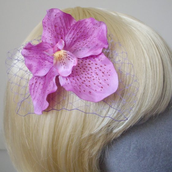 Lilac Orchid Flower Hair Comb detail