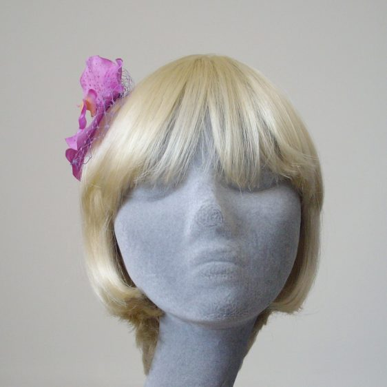 Lilac Orchid Flower Hair Comb front