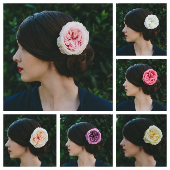 Pale Pink Rose Hair Clip collage