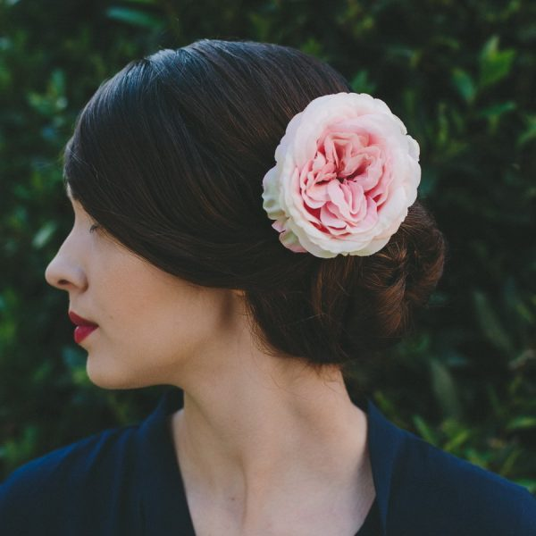 Pale Pink Rose Hair Clip