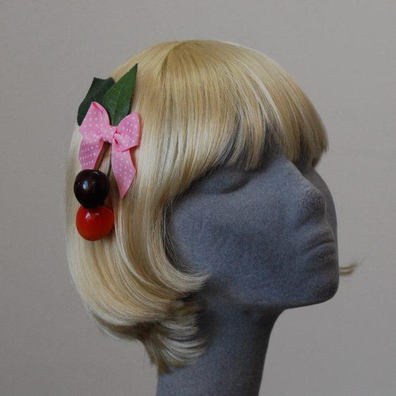 Pale Pink Polka Dot Bow Cherry Hair Clip angle