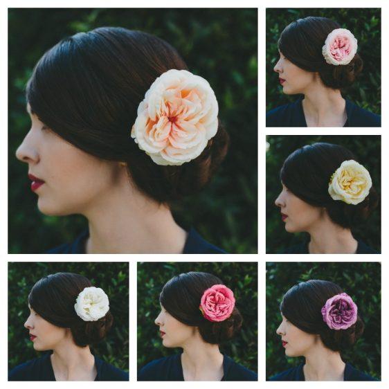 Peach Rose Hair Clip collage