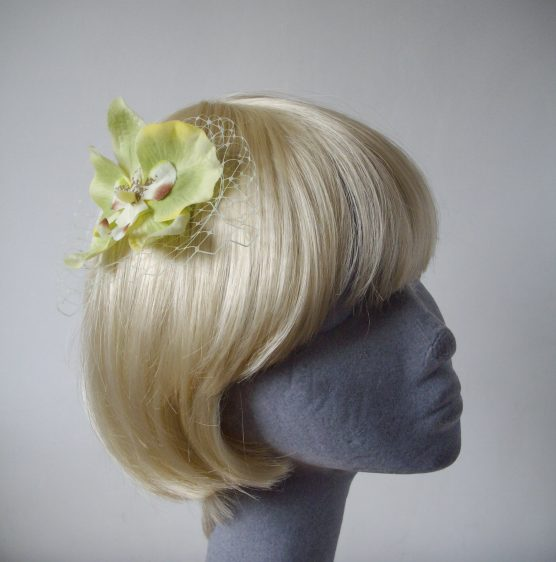 Green Orchid Flower Hair Comb angle