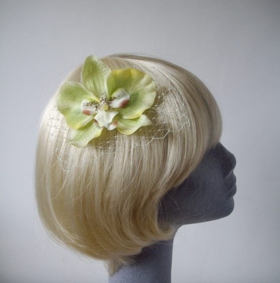 Green Orchid Flower Hair Comb