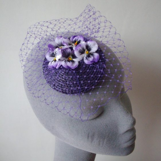 Purple Pansy Flower Fascinator angle