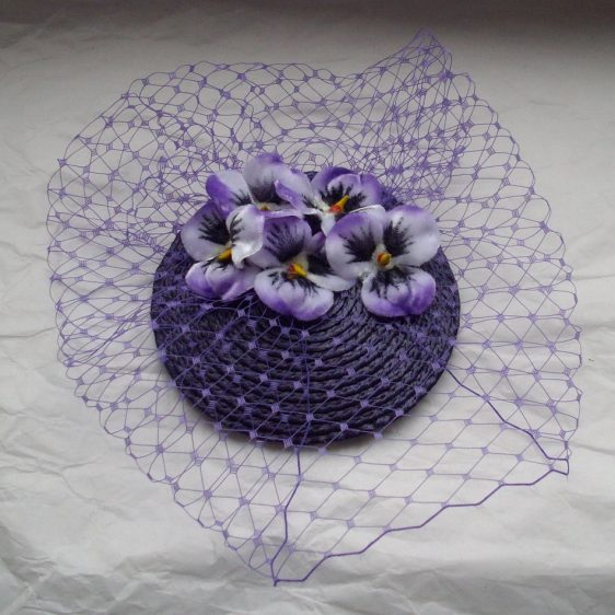 Purple Pansy Flower Fascinator top