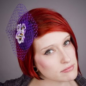 Purple Pansy Flower Fascinator
