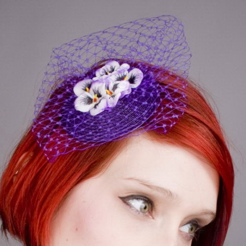 Purple Pansy Flower Fascinator detail