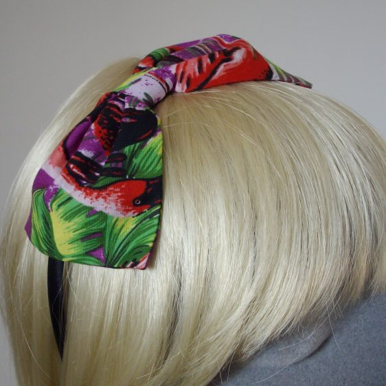 Purple Flamingo Bow Headband detail2
