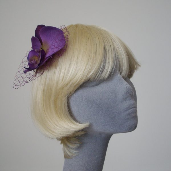 Purple Green Orchid Flower Hair Comb angle