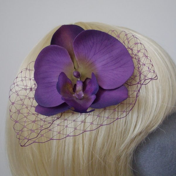 Purple Green Orchid Flower Hair Comb detail2