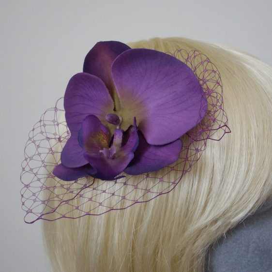 Purple Green Orchid Flower Hair Comb detail