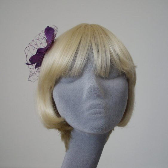 Purple Green Orchid Flower Hair Comb front